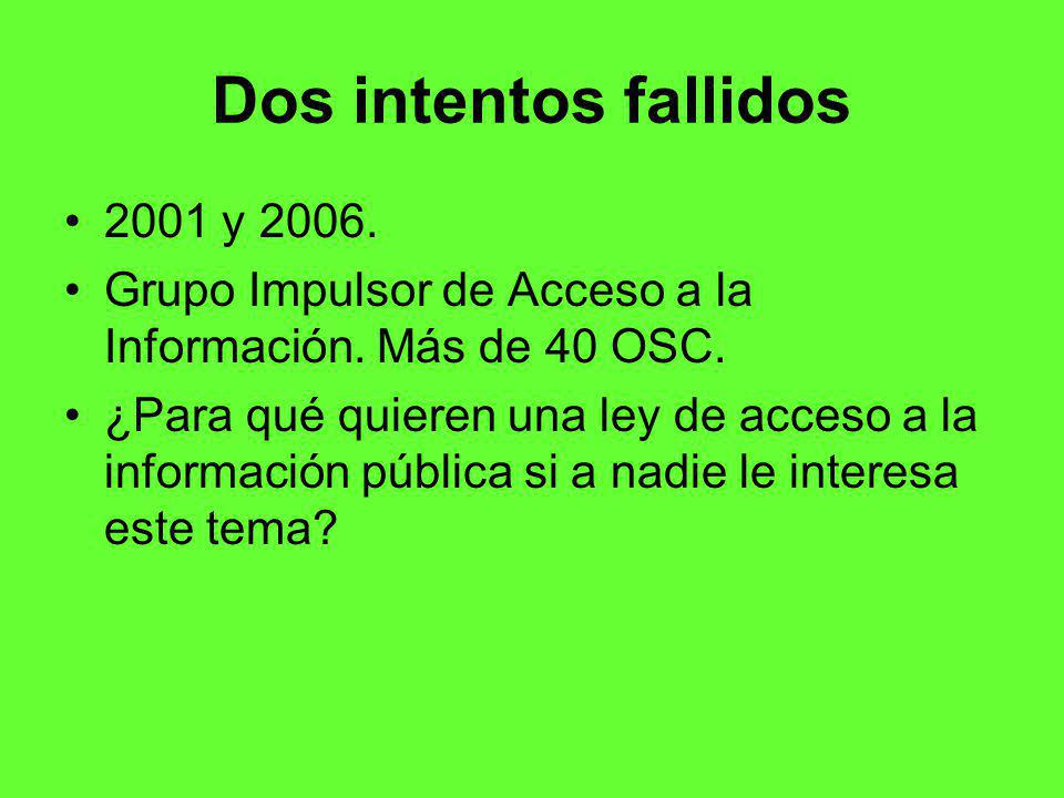 Dos intentos fallidos 2001 y 2006.