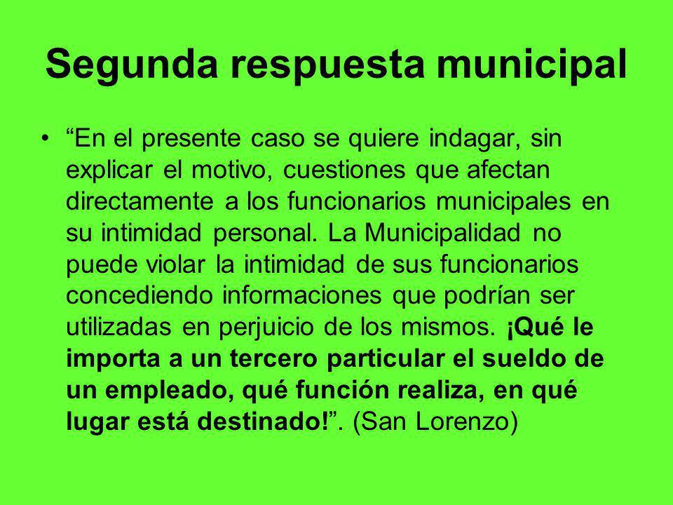 Segunda respuesta municipal