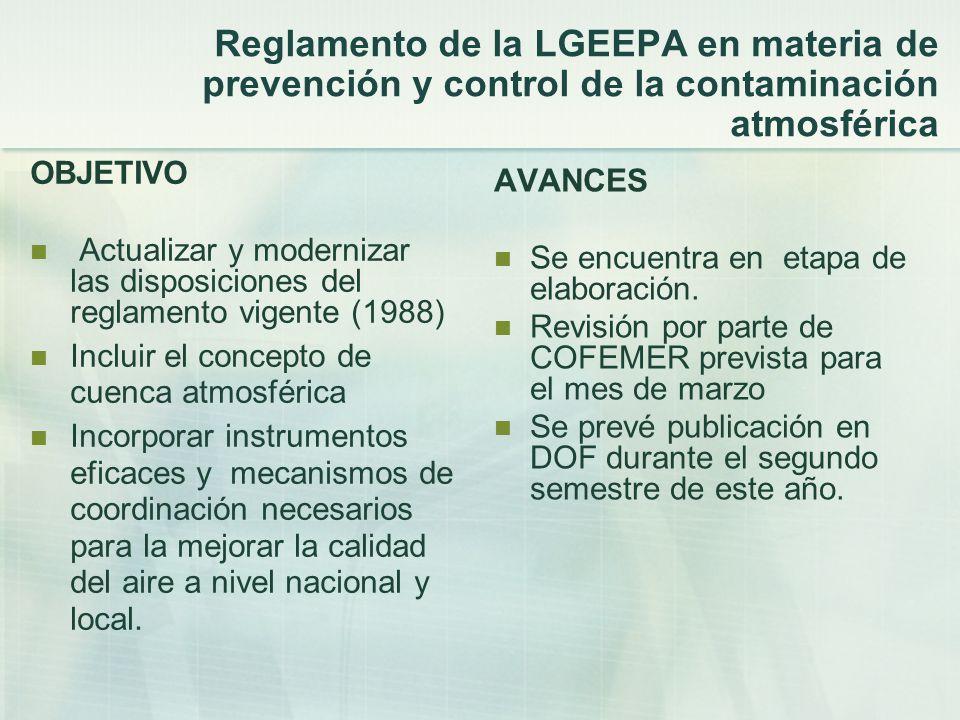 Reglamento de la LGEEPA en materia de prevención y control de la contaminación atmosférica