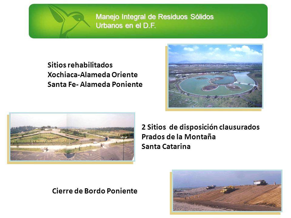Sitios rehabilitados Xochiaca-Alameda Oriente. Santa Fe- Alameda Poniente. 2 Sitios de disposición clausurados.
