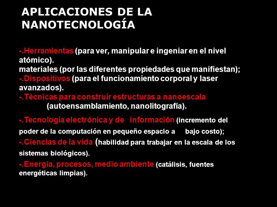 APLICACIONES DE LA NANOTECNOLOGÍA