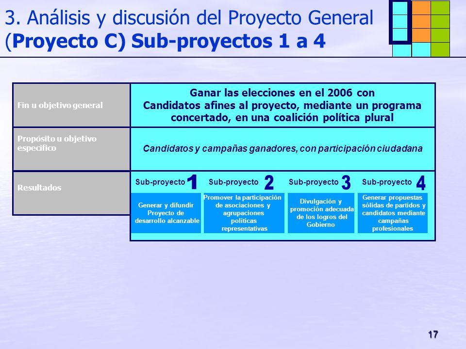 3. Análisis y discusión del Proyecto General (Proyecto C) Sub-proyectos 1 a 4