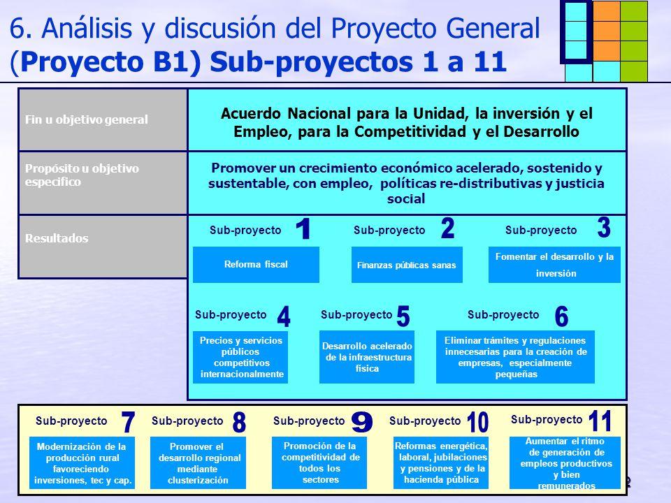 6. Análisis y discusión del Proyecto General (Proyecto B1) Sub-proyectos 1 a 11
