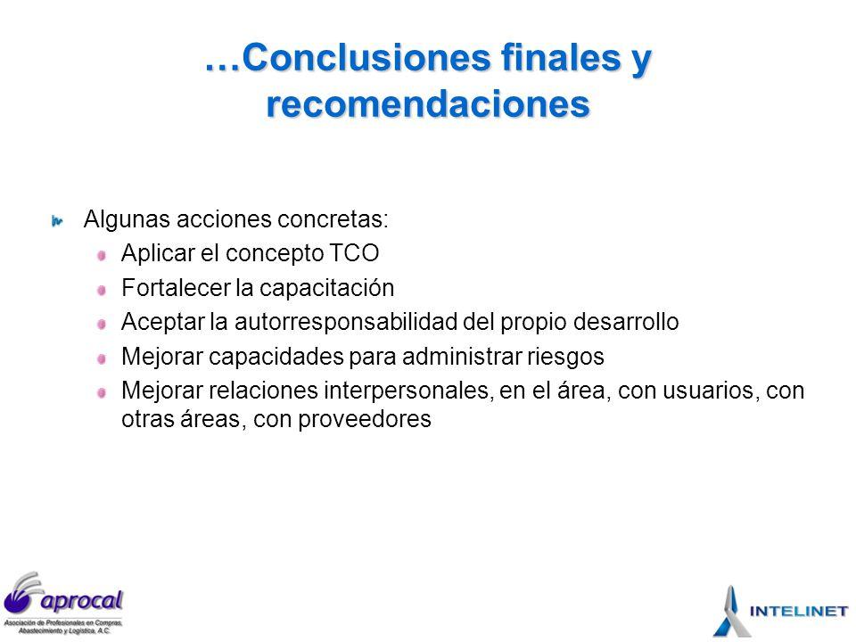 …Conclusiones finales y recomendaciones