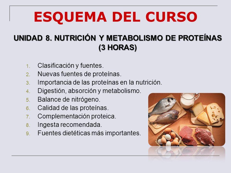 UNIDAD 8. NUTRICIÓN Y METABOLISMO DE PROTEÍNAS