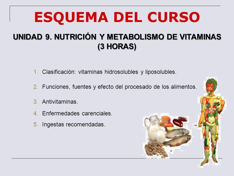UNIDAD 9. NUTRICIÓN Y METABOLISMO DE VITAMINAS