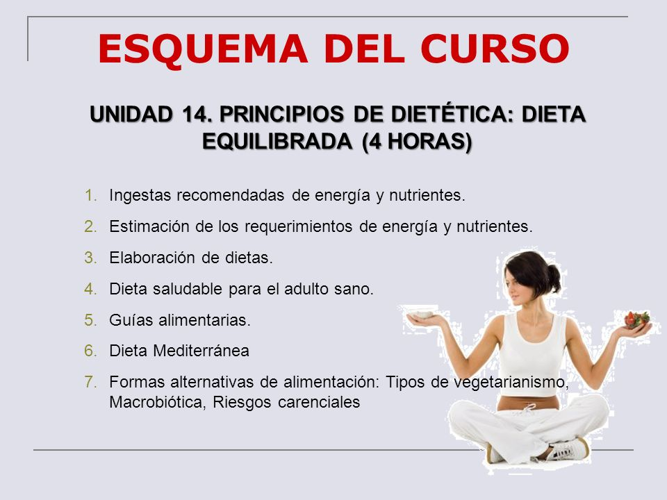 UNIDAD 14. PRINCIPIOS DE DIETÉTICA: DIETA EQUILIBRADA (4 HORAS)