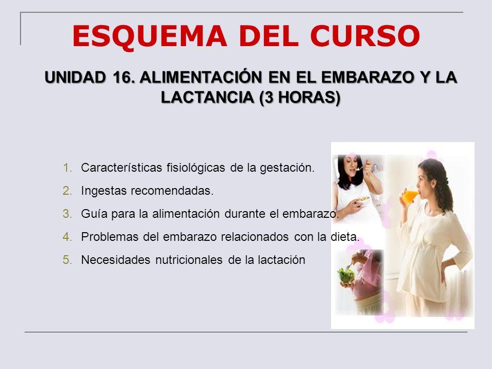 UNIDAD 16. ALIMENTACIÓN EN EL EMBARAZO Y LA LACTANCIA (3 HORAS)