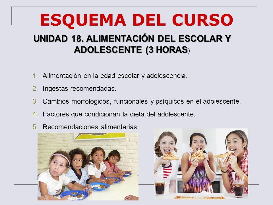 UNIDAD 18. ALIMENTACIÓN DEL ESCOLAR Y ADOLESCENTE (3 HORAS)