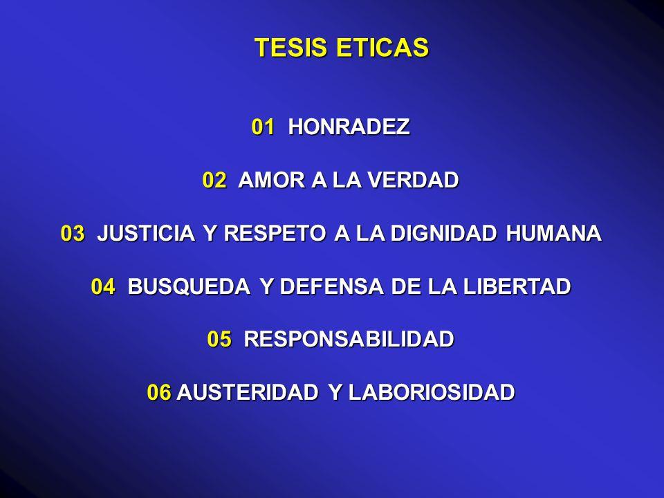 TESIS ETICAS 01 HONRADEZ 02 AMOR A LA VERDAD