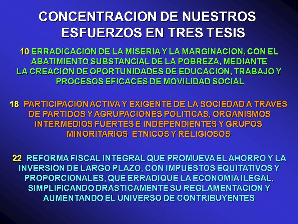 CONCENTRACION DE NUESTROS ESFUERZOS EN TRES TESIS