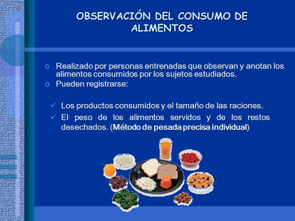 OBSERVACIÓN DEL CONSUMO DE ALIMENTOS