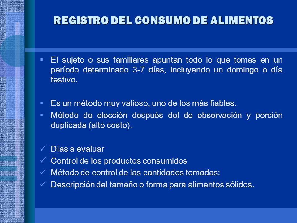 REGISTRO DEL CONSUMO DE ALIMENTOS