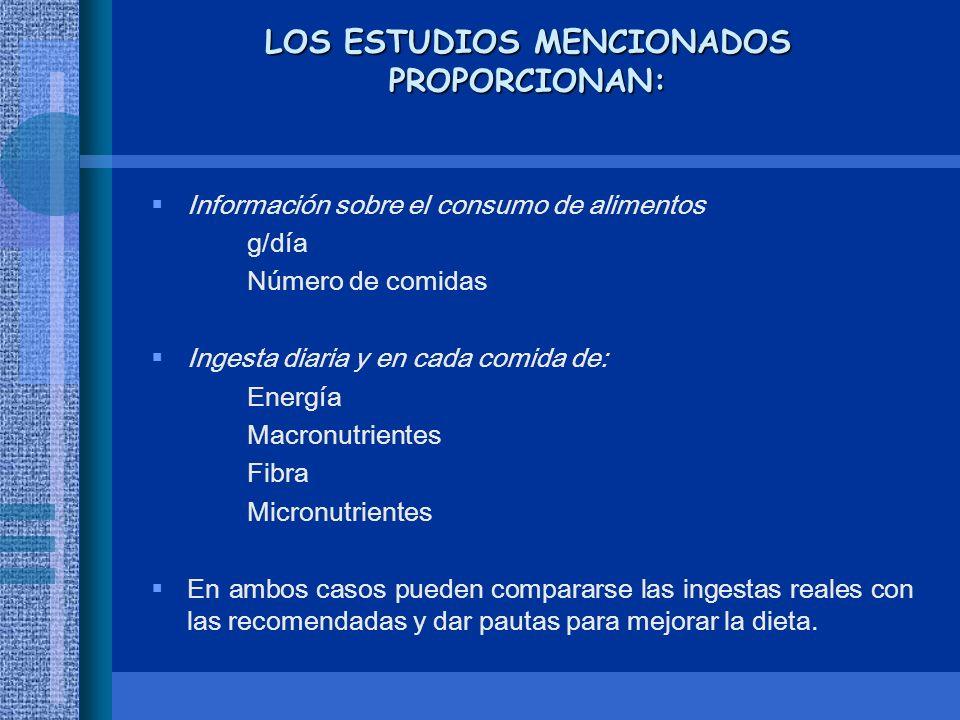 LOS ESTUDIOS MENCIONADOS PROPORCIONAN: