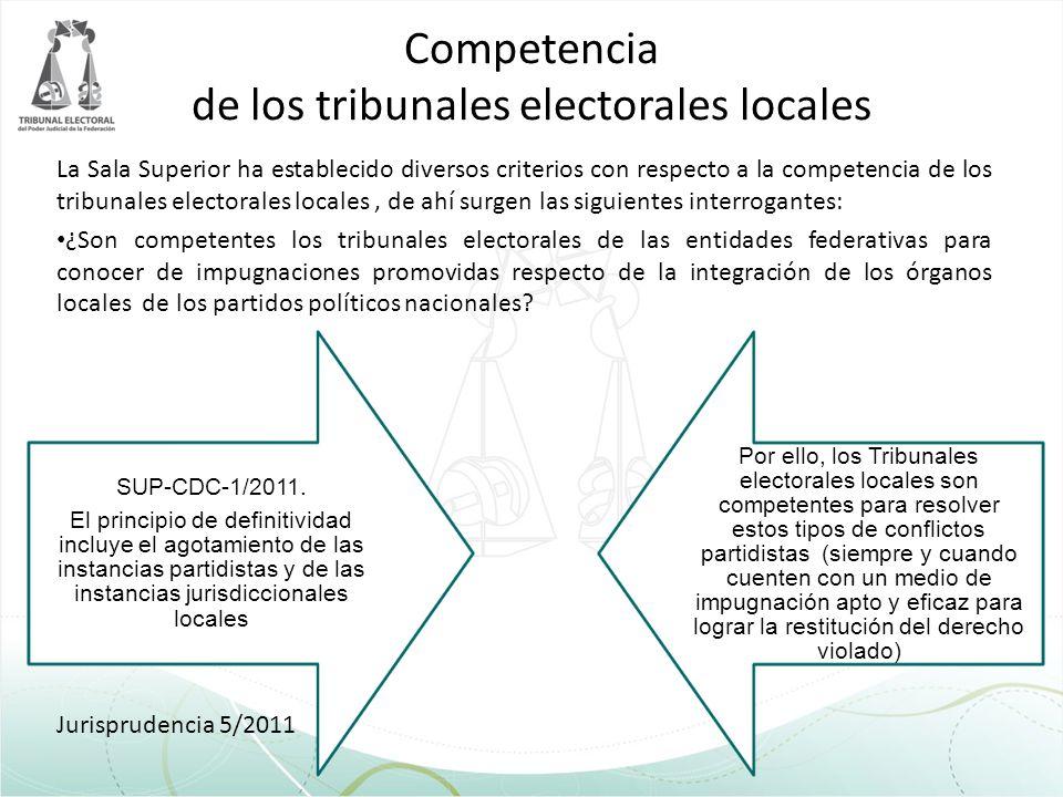 Competencia de los tribunales electorales locales