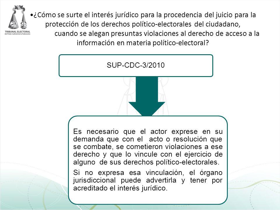 ¿Cómo se surte el interés jurídico para la procedencia del juicio para la protección de los derechos político-electorales del ciudadano, cuando se alegan presuntas violaciones al derecho de acceso a la información en materia político-electoral