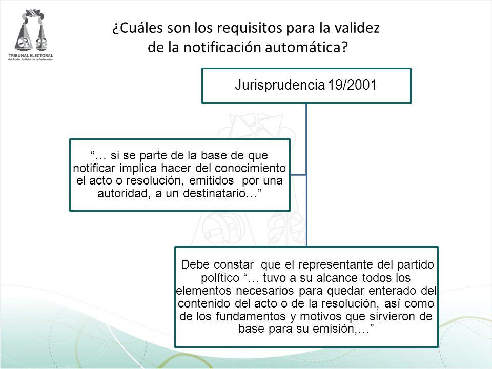 ¿Cuáles son los requisitos para la validez de la notificación automática