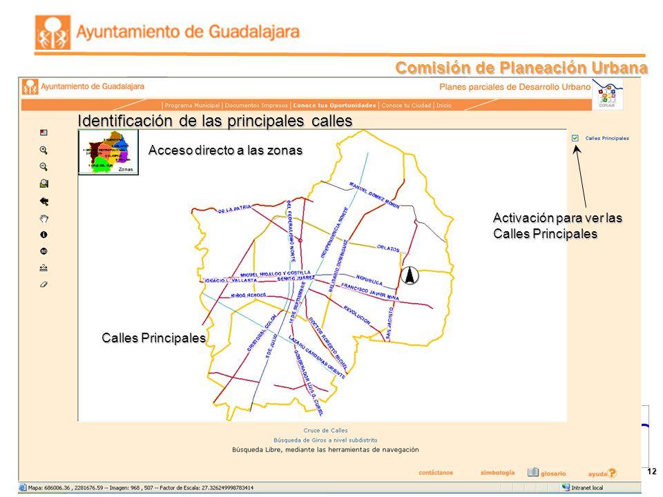 Identificación de las principales calles