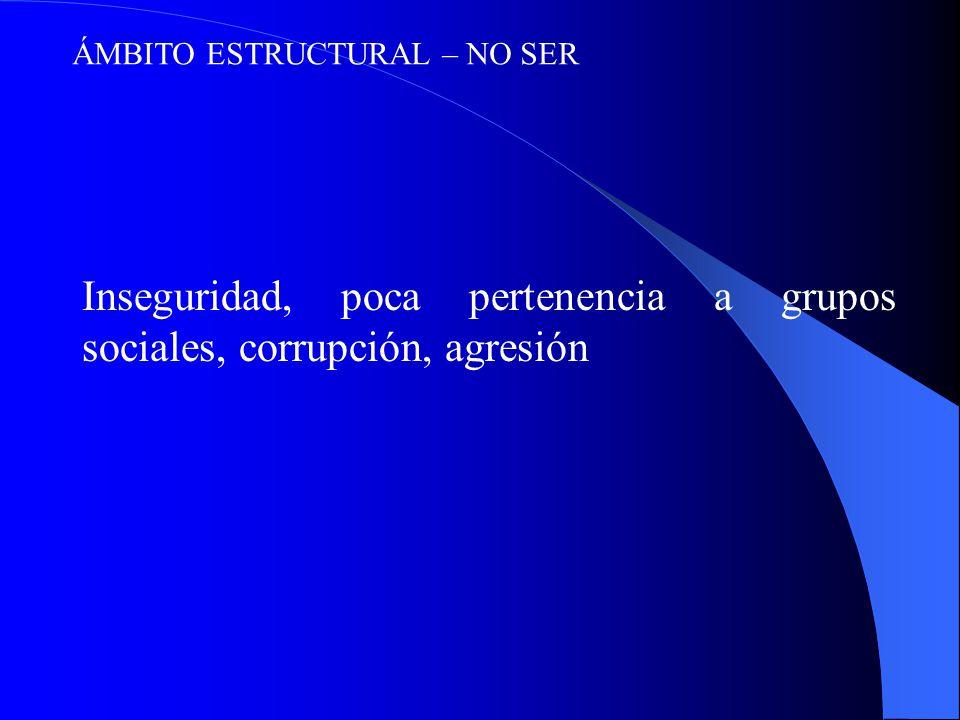 Inseguridad, poca pertenencia a grupos sociales, corrupción, agresión