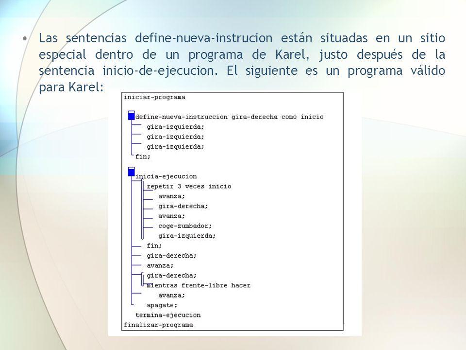 Las sentencias define-nueva-instrucion están situadas en un sitio especial dentro de un programa de Karel, justo después de la sentencia inicio-de-ejecucion.