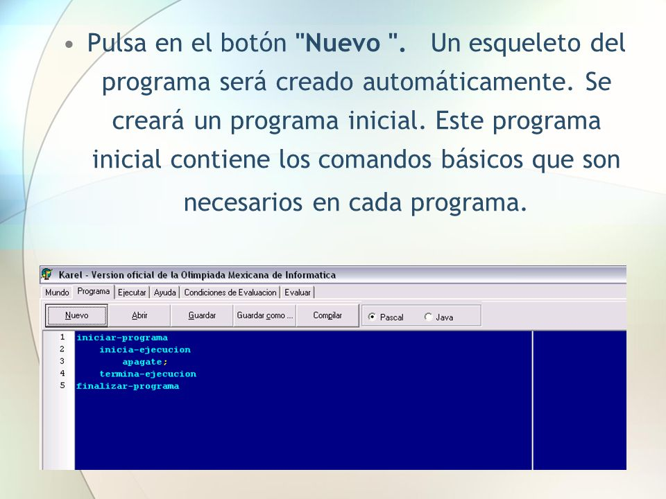 Pulsa en el botón Nuevo . Un esqueleto del programa será creado automáticamente.