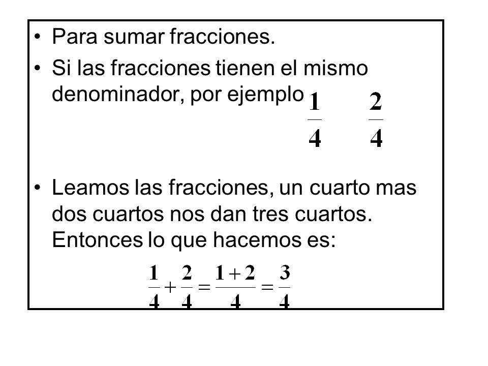 Para sumar fracciones. Si las fracciones tienen el mismo denominador, por ejemplo.