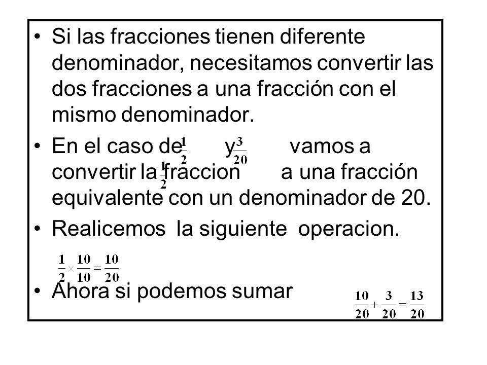 Si las fracciones tienen diferente denominador, necesitamos convertir las dos fracciones a una fracción con el mismo denominador.