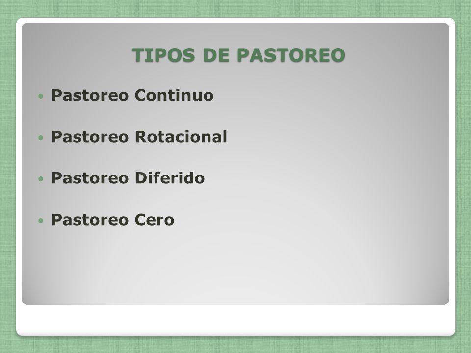 TIPOS DE PASTOREO Pastoreo Continuo Pastoreo Rotacional