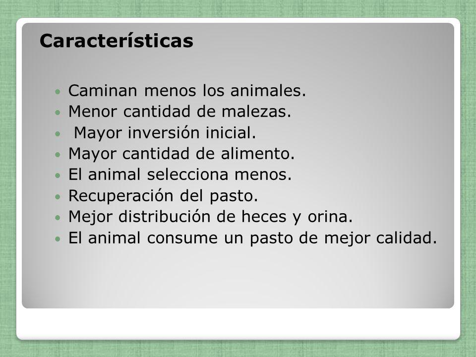 Características Caminan menos los animales. Menor cantidad de malezas.