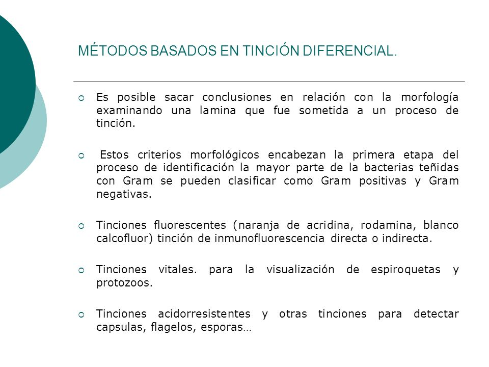 MÉTODOS BASADOS EN TINCIÓN DIFERENCIAL.
