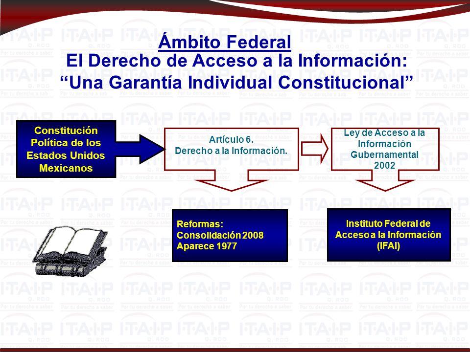 Ámbito Federal El Derecho de Acceso a la Información: Una Garantía Individual Constitucional Constitución Política de los Estados Unidos Mexicanos.