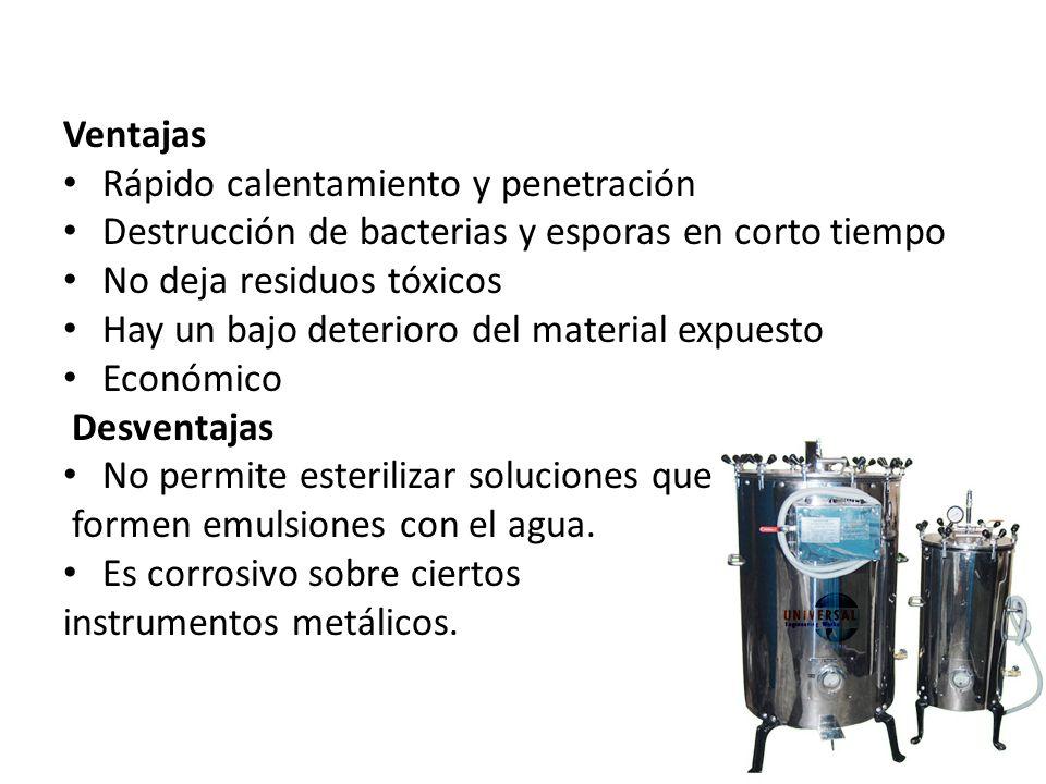 VentajasRápido calentamiento y penetración. Destrucción de bacterias y esporas en corto tiempo. No deja residuos tóxicos.