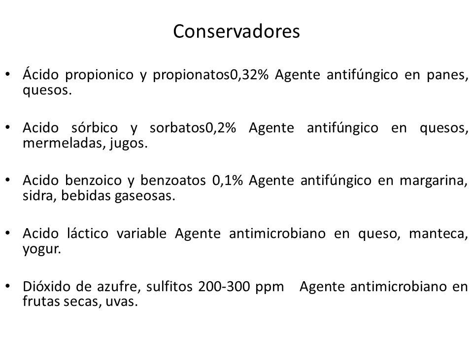 Conservadores Ácido propionico y propionatos0,32% Agente antifúngico en panes, quesos.