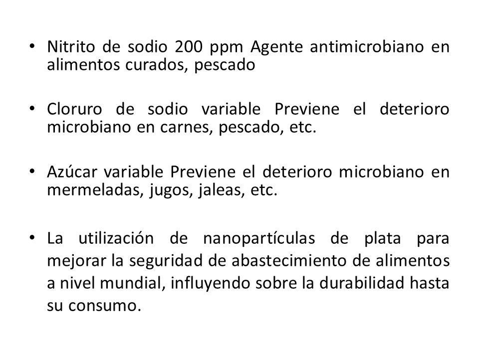 Nitrito de sodio 200 ppm Agente antimicrobiano en alimentos curados, pescado