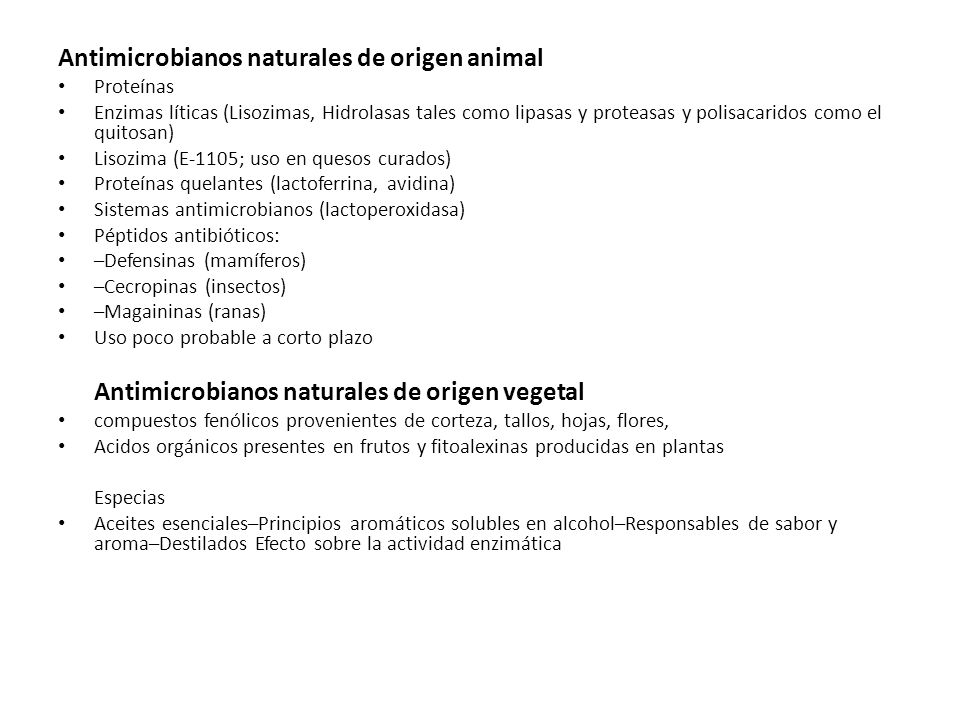 Antimicrobianos naturales de origen animal