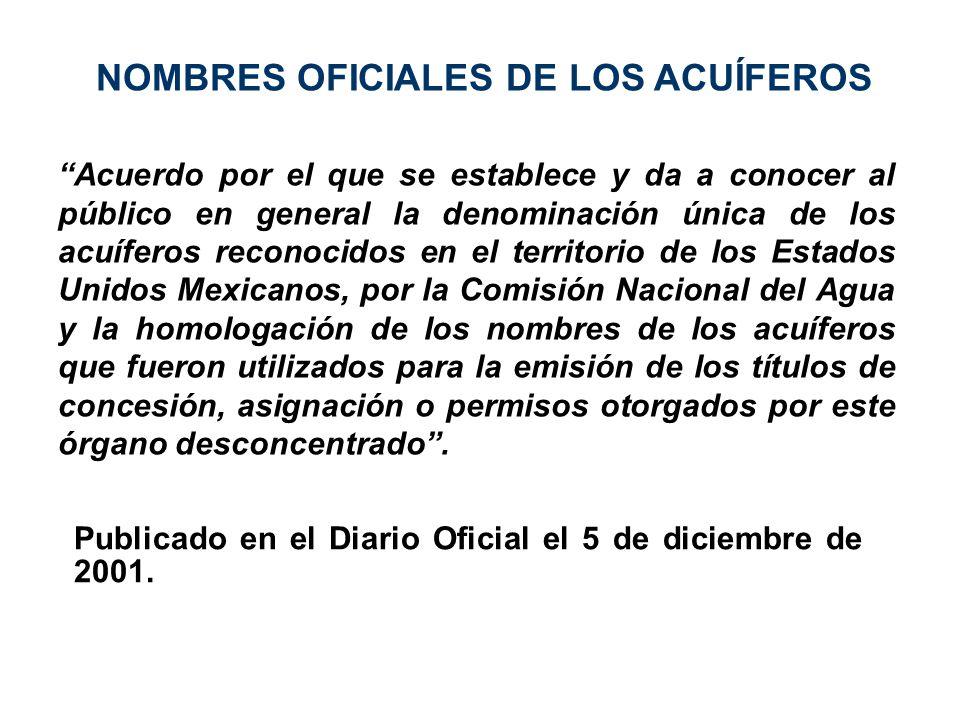 NOMBRES OFICIALES DE LOS ACUÍFEROS