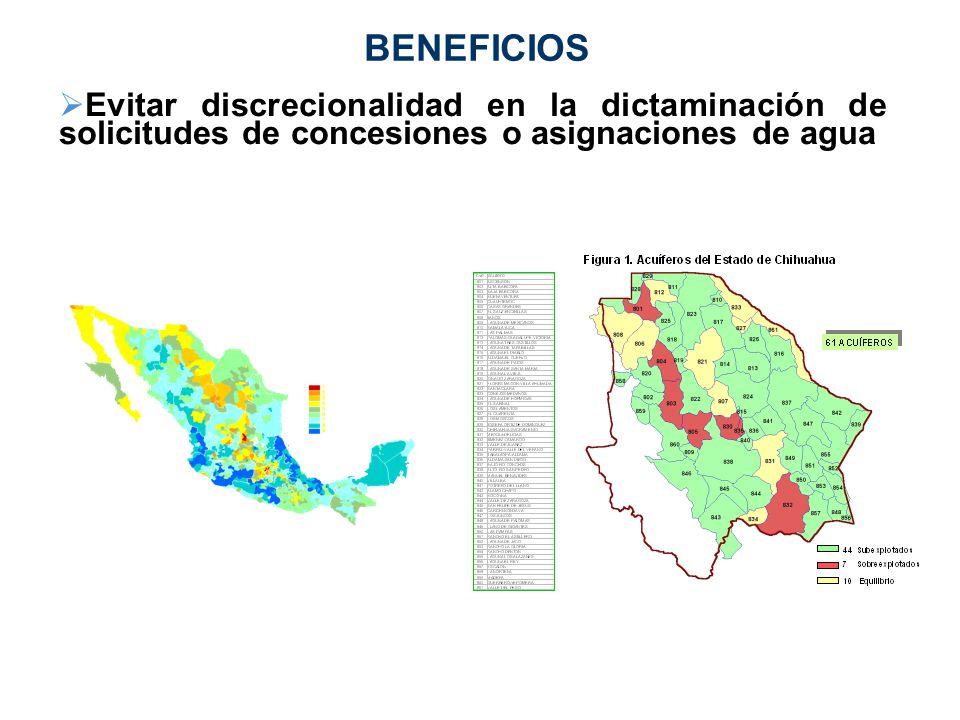BENEFICIOS Evitar discrecionalidad en la dictaminación de solicitudes de concesiones o asignaciones de agua.