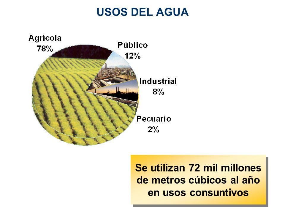 USOS DEL AGUA Se utilizan 72 mil millones de metros cúbicos al año en usos consuntivos