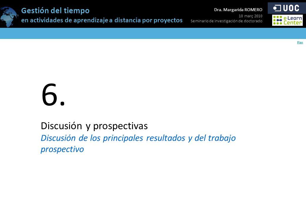 6. Discusión y prospectivas Discusión de los principales resultados y del trabajo prospectivo.