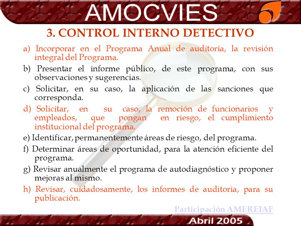 3. CONTROL INTERNO DETECTIVO