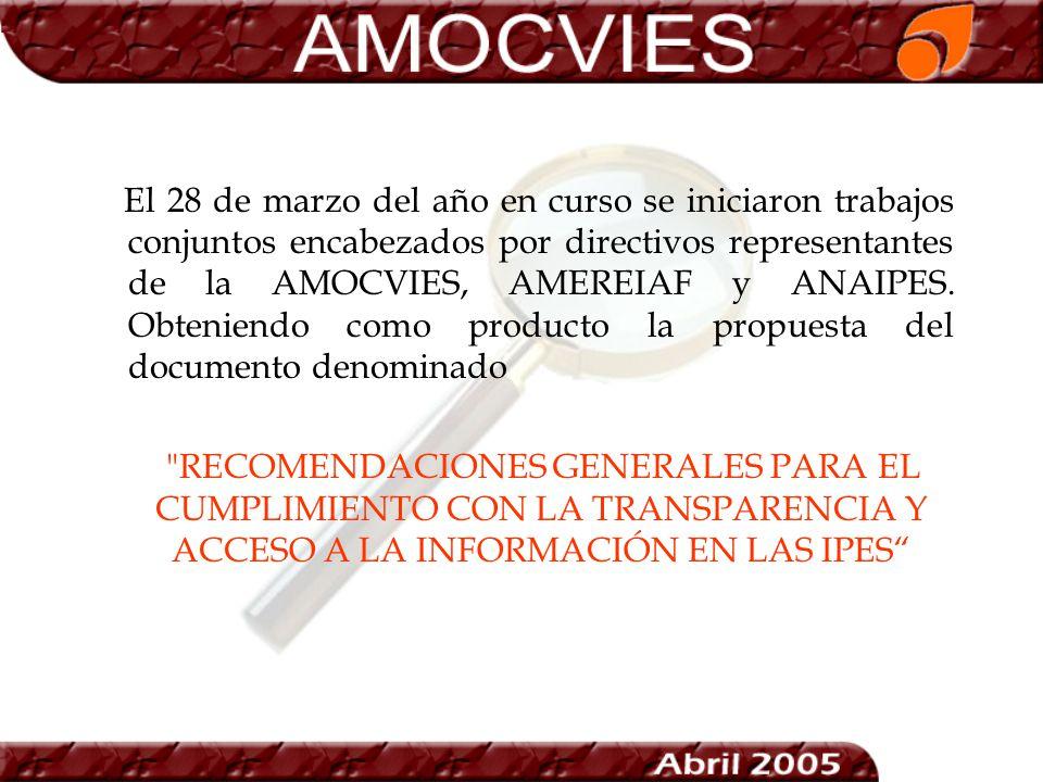 El 28 de marzo del año en curso se iniciaron trabajos conjuntos encabezados por directivos representantes de la AMOCVIES, AMEREIAF y ANAIPES. Obteniendo como producto la propuesta del documento denominado