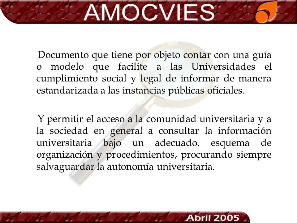 Documento que tiene por objeto contar con una guía o modelo que facilite a las Universidades el cumplimiento social y legal de informar de manera estandarizada a las instancias públicas oficiales.
