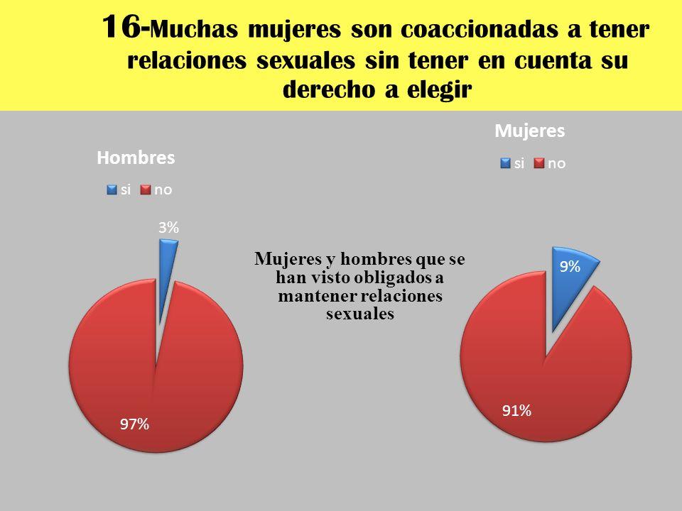 16-Muchas mujeres son coaccionadas a tener relaciones sexuales sin tener en cuenta su derecho a elegir
