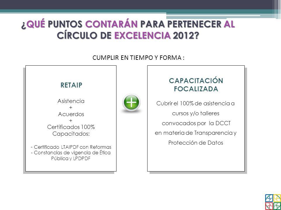 ¿QUÉ PUNTOS CONTARÁN PARA PERTENECER AL CÍRCULO DE EXCELENCIA 2012