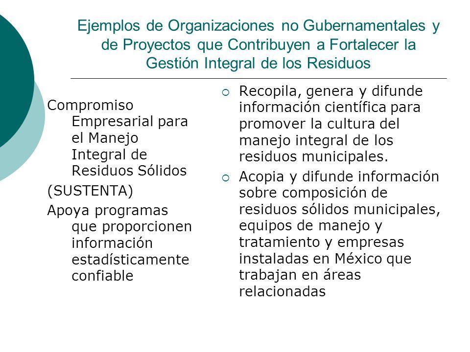 Ejemplos de Organizaciones no Gubernamentales y de Proyectos que Contribuyen a Fortalecer la Gestión Integral de los Residuos