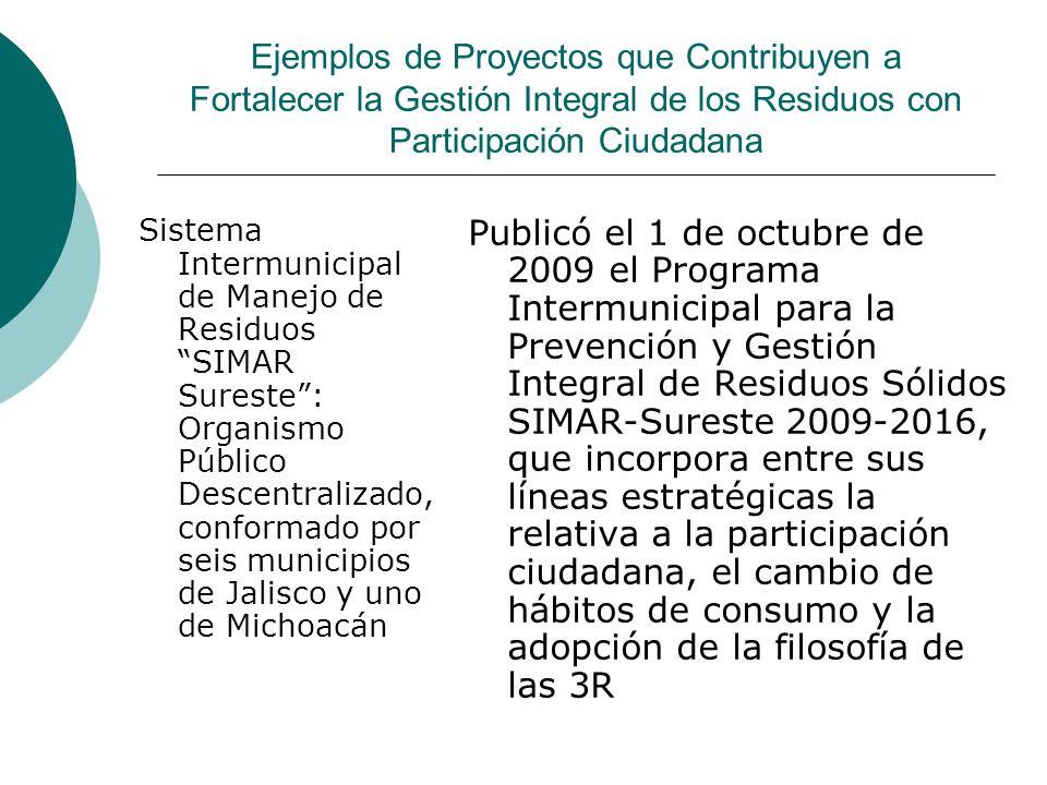 Ejemplos de Proyectos que Contribuyen a Fortalecer la Gestión Integral de los Residuos con Participación Ciudadana