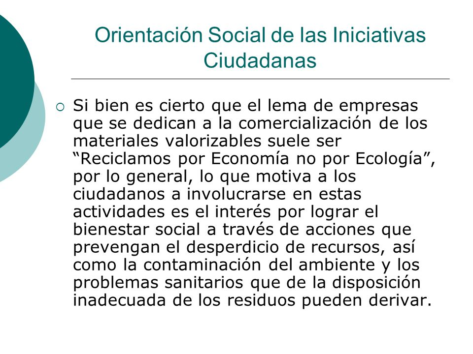 Orientación Social de las Iniciativas Ciudadanas