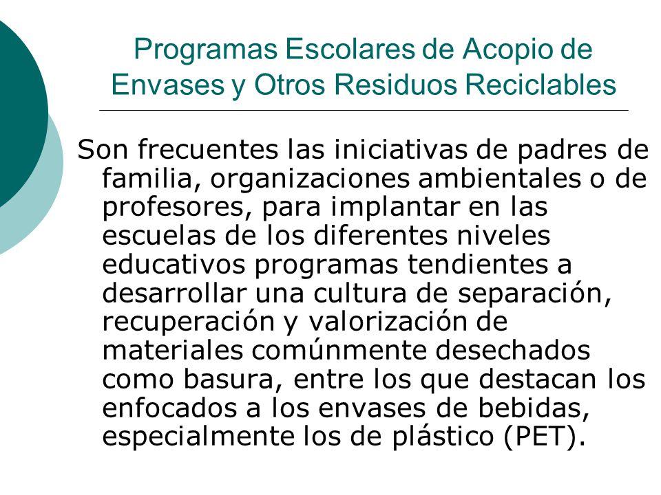 Programas Escolares de Acopio de Envases y Otros Residuos Reciclables