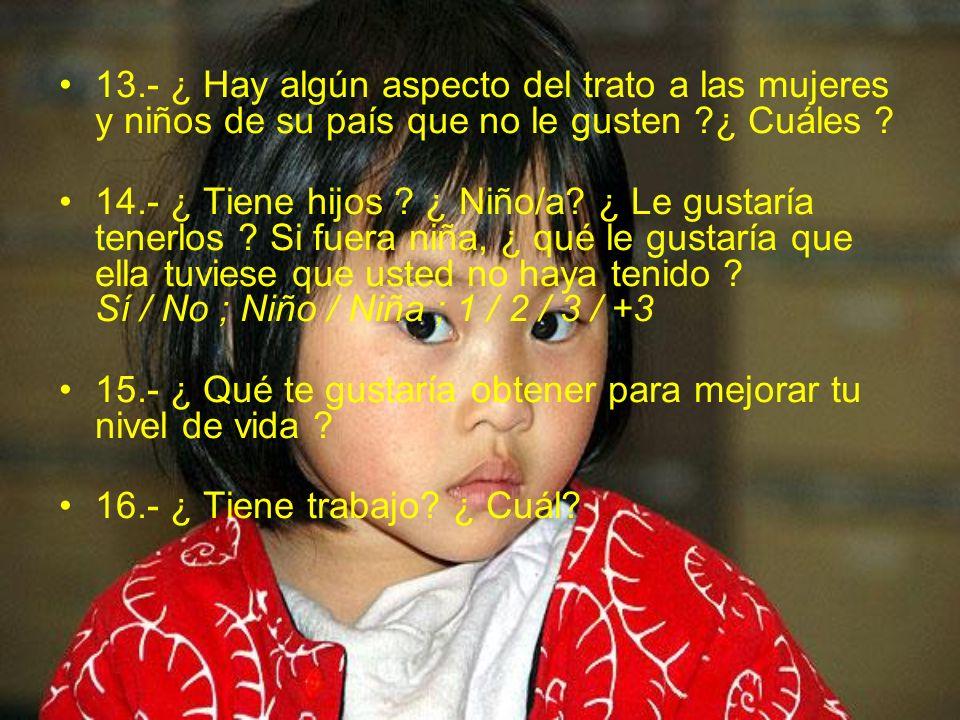 13.- ¿ Hay algún aspecto del trato a las mujeres y niños de su país que no le gusten ¿ Cuáles