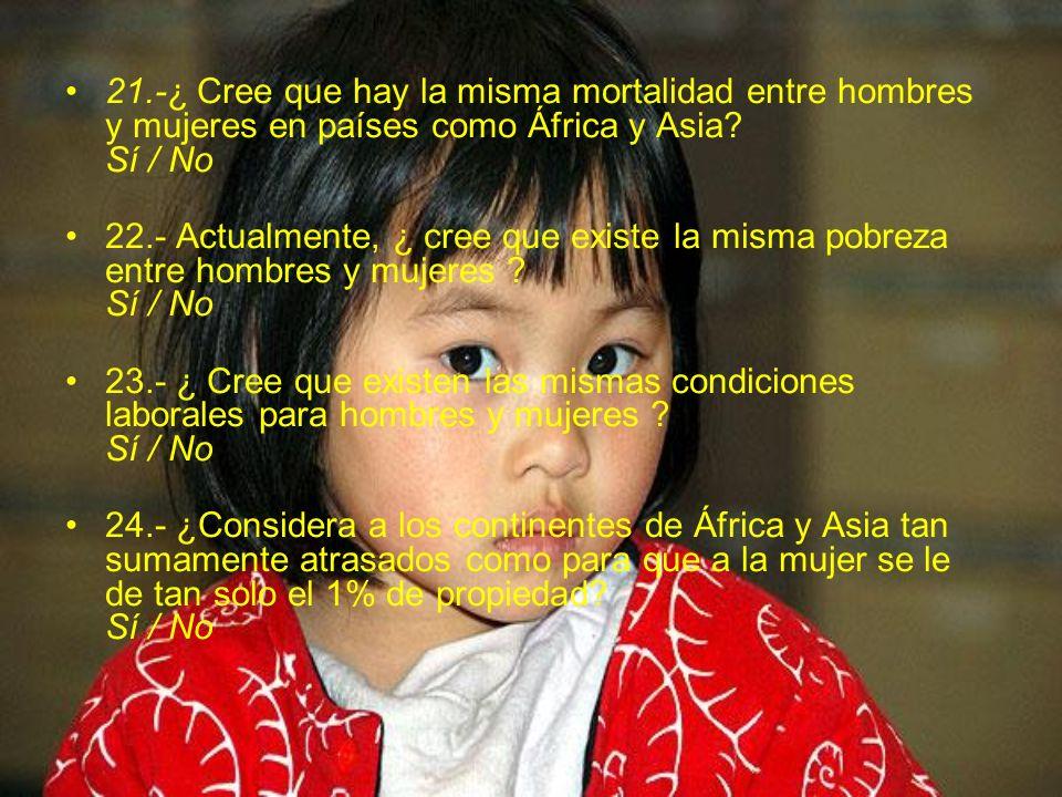 21.-¿ Cree que hay la misma mortalidad entre hombres y mujeres en países como África y Asia Sí / No
